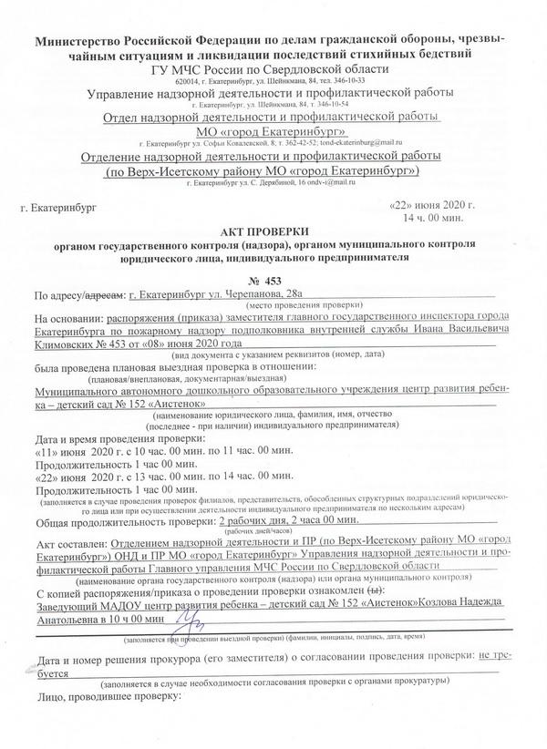 акт проверки Управления надзорной деятельности и профилактической работы